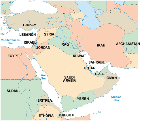 Sayanee Map Of Middle East - Map of egypt israel jordan